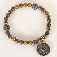 Handmade Stretch bracelet with Tiger Eye gemstone beads and pendant with the animals of the Chinese Zodiac