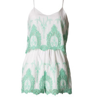Floating on Air Embroidered Romper - Mint | Daily Chic