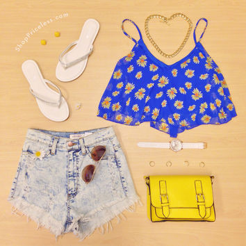 Dana Daisy Crop Top - Blue