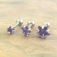 Set of 3 Purple Crystal Star Triple Helix Stud Cartilage Earrings