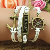 Dream Anchor Helm Love 4 Layers White Handmade MultiLayered Bracelet BHDP 0618