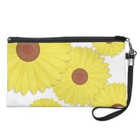 Yellow and White Sunflower Print Wristlet