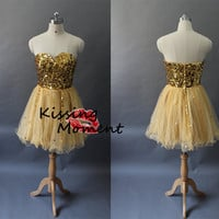 Unique Gold Sequins Short Prom Dress 2014- New Arrival Princess Backless Short  Prom Dresses,Mini Cocktail dress, Homecoming dresses 9143