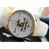 Women's Anchor Leather Printed Surface Leather Strap Watch 050203 Color White XDP 0617