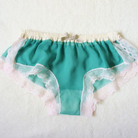 $39.00 Light Green Chiffon Sleep Boxer/style WAKABA by Naomilingerie
