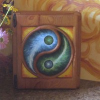 OOAK YinYang Cabinet-Blue Green Yin and Yang-Two Shelf Storage | signsofspirit - Mixed Media on ArtFire