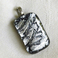 Black and Silver Glass Pendant by bprdesigns on Etsy