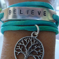 Hand Stamped Tree of Life Silk Ribbon Bracelet BELIEVE by IndoLove