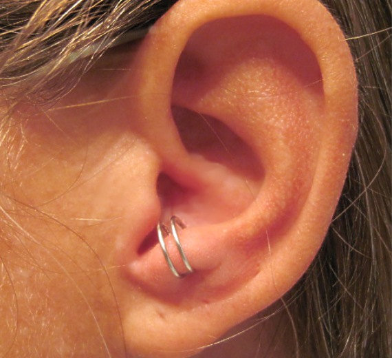No Piercing Sterling Silver Anti Tragus Ear Cuff by ArianrhodWolfchild on etsy