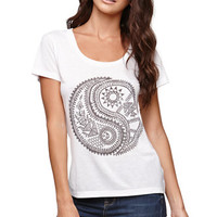 Billabong Yin Yang Life Crew T-Shirt - Womens Tee - White -