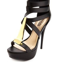 Gold-Plated Strappy Platform Heels by Charlotte Russe - Black