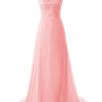 Dressystar Chiffon Lace Sleeveless Backless Prom Dress Long Party Bridesmaid Gown