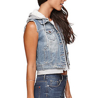 LA Hearts Fleece Hood Denim Vest - Womens Jacket - Blue -