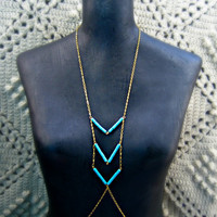 body chain with turquoise chevron stripes by alapopjewelry