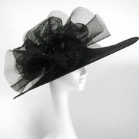 Black  Kentucky Derby or Wedding Hat by Hatsbycressida on Etsy