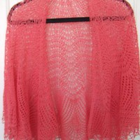 Hand Knitted Peacock Tail Lace Shawl by FourSeasons on Zibbet