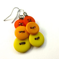 Bright Yellow and Orange Vintage Button Earrings - Warm Color Ombre