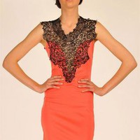 Coral Cocktail Dress - Coral Mini Dress with Front | UsTrendy
