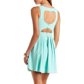 PLEATED HEART CUT-OUT SKATER DRESS