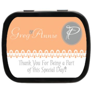 Simply Peach Personalized Wedding Mint Tins for Candy Favors, Party Favors