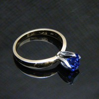 Genuine Tanzanite 14K TwoTone Gold Tulip Ring by barakagems