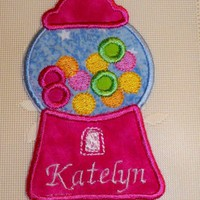 Personalize hot pink gum ball applique iron on patch | UniqueEmbroideries - Accessories on ArtFire