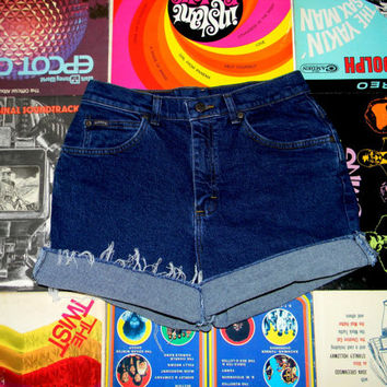 Vintage Denim Cut Offs - 90s Dark Wash STRETCH Jean Shorts - High Waisted/Frayed/Rolled Up/Cuffed RIDERS Shorts Misses Size 10 Medium/M