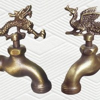 Solid Brass Garden Outdoor Faucets - Dragon & Phoenix - Set of 2 Pcs