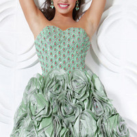 Flattering Sage Ball Gown Scoop Neckline Mini Rhinestones Organza Cocktail Dress-SinoSpecial.com