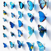24PCS 3D Butterfly Wall Stickers Decor Art Decorations 3 size