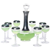 Absinthe Decanter and 8 Glass Set