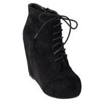 Brinley Co Womens Lace-up Platform Wedge Booties