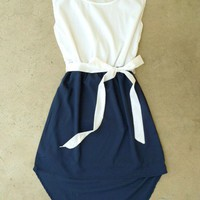 Navy La Sallee Colorblock Dress [2554] - &amp;#36;28.00 : Vintage Inspired Clothing &amp; Affordable Summer Dresses, deloom | Modern. Vintage. Crafted.