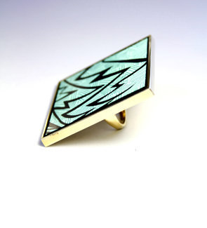 Miss Wax Jewelry The chevron aqua zig zag box ring : Karmaloop.com - Global Concrete Culture