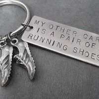 MY OTHER CAR IS A PAIR OF RUNNING SHOES Key Chain - Choose 4 inch Ball Chain or Round Key Ring - Nickel Silver hand hammered pendant and Pewter Running Shoe charms