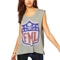 Women's FML Skull Printed Sleeveless Tank Shirt M Gray