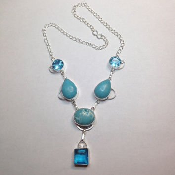 Handmade, Turquoise and Blue Topaz Necklace