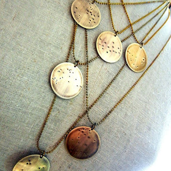 $27.00 Zodiac Constellation Brass Necklace Choose Your Sign by eriadesignsjewelry