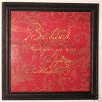 Plato's Kindess Quote, Embellished and Framed
