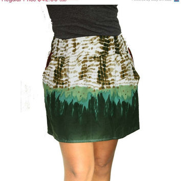 ON SALE Color Block Green Mini Skirt with Two by LoNaDesign