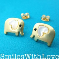 Small Elephant Earrings in Gold with Pearl Heart Detail | smileswithlove - Jewelry on ArtFire