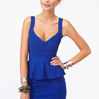 Peplum Bandage Dress - Blue in What's New at Nasty Gal