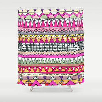 Tribal Lines Shower Curtain by Ornaart