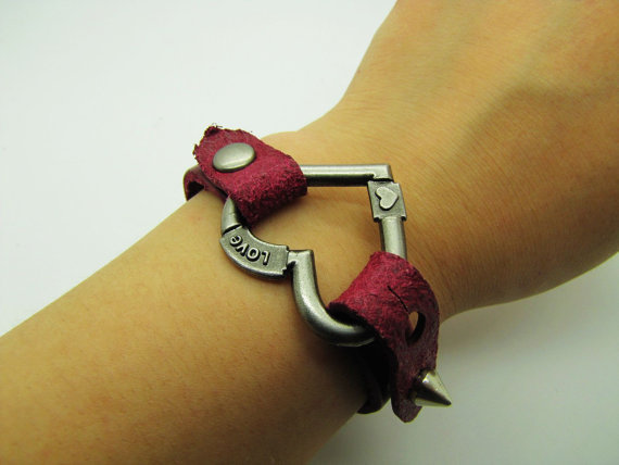 Adjustable Bracelet Leather Bracelet Love You Love by sevenvsxiao
