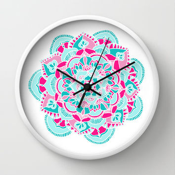 Hot Pink & Teal Mandala Flower Wall Clock by Tangerine-Tane