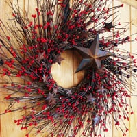 Primitive RUSTIC RED STAR Twig WreathHoliday by WildRidgeDesign