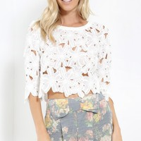Peices Of Me Floral Crochet Crop Top | MakeMeChic.com