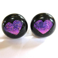 Purple Dichroic Post Earrings Dichroic Fused Glass Jewelry by mysassyglass