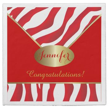 Red Zebra Stripe Background Napkins