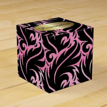 Pink Glitter and Black Designed Favor Box